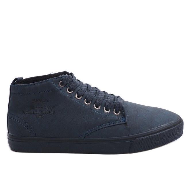 Stílusos, magas szárú cipők Y007 sötétkék haditengerészet