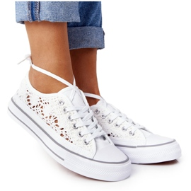 FB2 Női fehér Candice csipke cipők