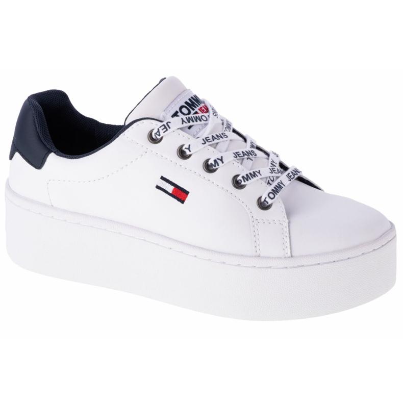 Tommy Hilfiger Iconic Leather Flatform cipő, EN0EN01113-YBR fehér haditengerészet
