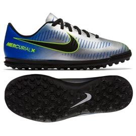 Nike MercurialX Vortex Iii Neymar Tf Jr 921497-407 futballcipő kék, szürke / ezüst kék