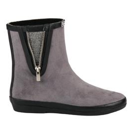 Kylie Suede Wellington cipő, dekoratív cipzárral szürke