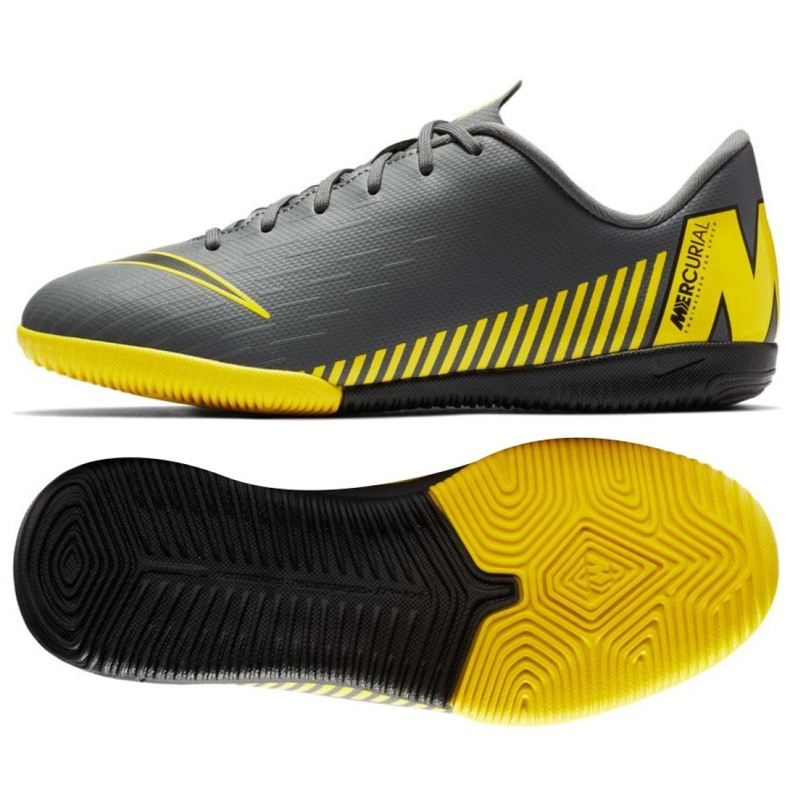 Nike Mercurial VaporX 12 Academy Gs Ic Jr AJ3101-070 beltéri cipő szürke szürke