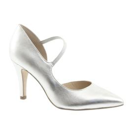 Hevederes cipő Caprice 24402 ezüst szürke