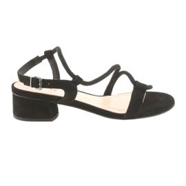 Fekete szandál magas sarkú cipő Edeo 3386