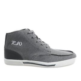 Szürke, elegáns magas cipő F10455