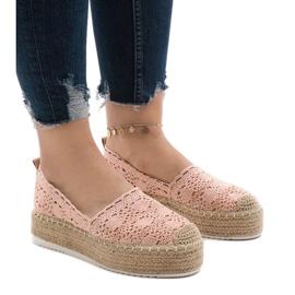 Rózsaszín cipők, espadrillák a 7801-P platformon