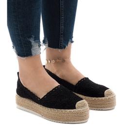 Fekete cipők, espadrillák a 7801-P platformon
