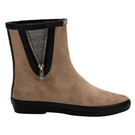 Kylie Suede Wellington cipő, dekoratív cipzárral barna