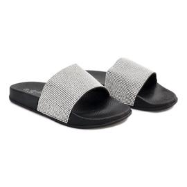 Szürke Fényes papucs flitterrel SL-32 fekete