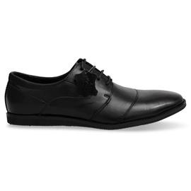 Bőr fűzős cipő LJ41 Fekete