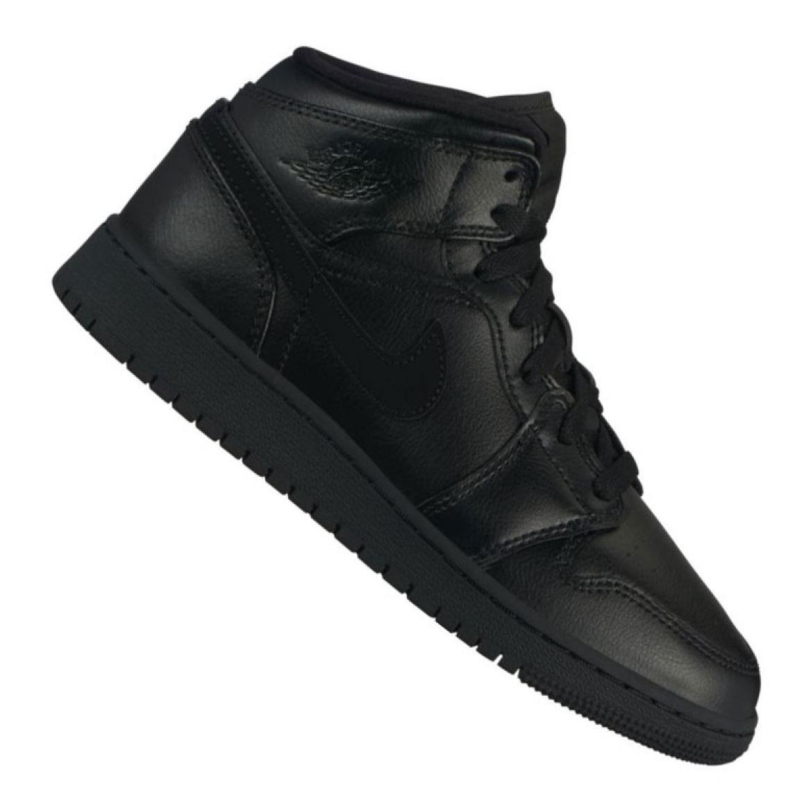 Nike Air Jordan 1 Mid Gs Jr 554725 090 cipő fekete