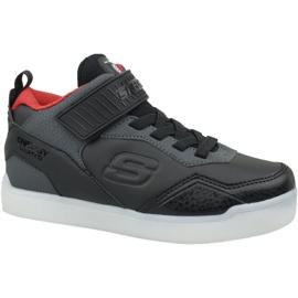 Fekete Skechers Energy Lights Jr 90613L-BKRD cipő