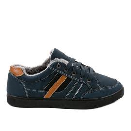Haditengerészet Sötétkék férfi cipők szőrmel E753M-2