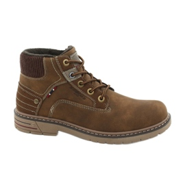 Barna American Club CY37 bőr trekking cipő