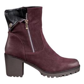 VINCEZA burgundi cipő piros