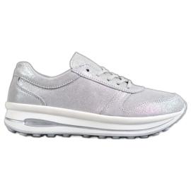 VINCEZA Glitter bőr cipő szürke