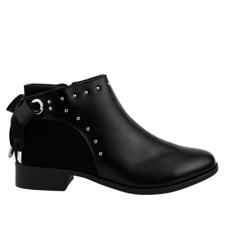 Fekete lapos női csizma Y8162 szalaggal