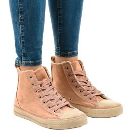 Rózsaszín szigetelt cipők T-040 fekete