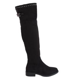 Fekete velúr bőr csizma Z173 Fekete