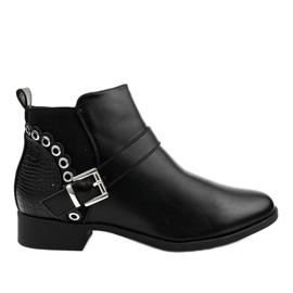 Fekete lapos csizma elasztikus szalaggal és Y8159 cipzárral