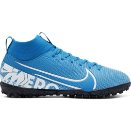 Nike Mercurial Superfly 7 Academy Tf Jr AT8143 414 futballcipő kék fehér, kék