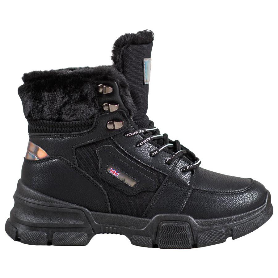 Yes Mile Cipők szőrme fekete