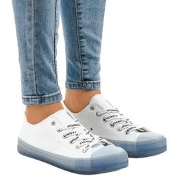 Cipők egy színes talp fehér kék FG 2948 kék ButyModne.pl