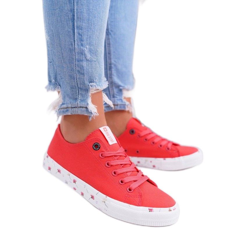 Big Star Piros cipők, egyetlen talpú virágok BigStar DD274709
