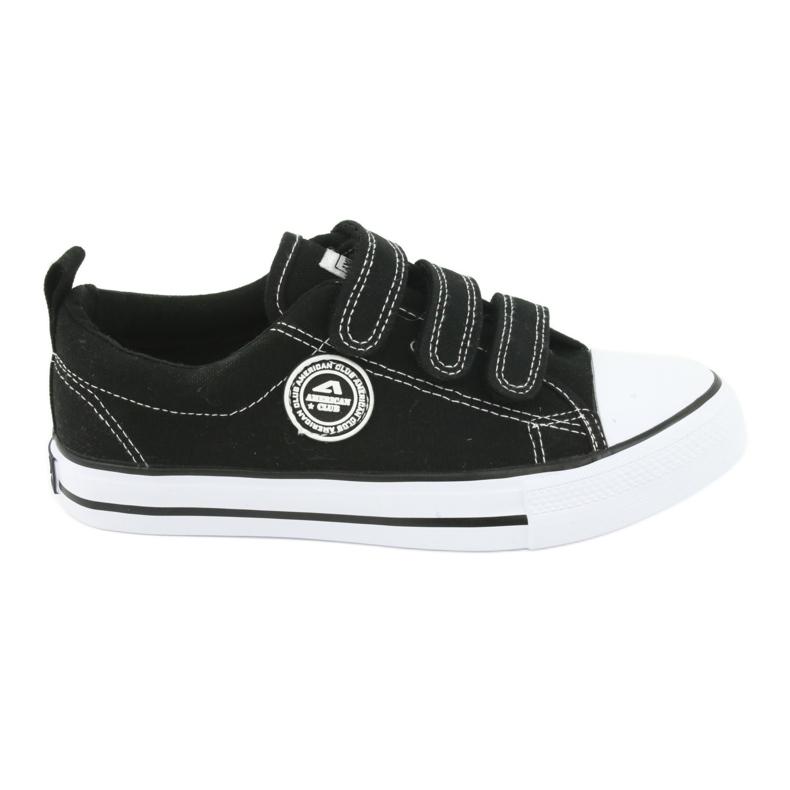 American Club Amerikai gyermek cipők tépőzáras LH33-tal fehér fekete