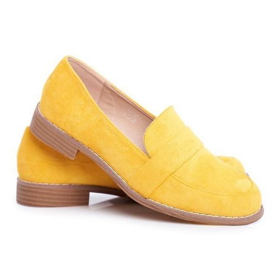 Maciejka női cipő Csúszik a bőr aranyra 03512 25 sárga