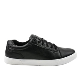 Fekete férfi cipők, ekológikus bőrből D83701