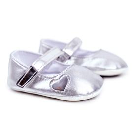Apawwa Keresztelő baba tépőzáras cipők Bellawa ezüst szürke