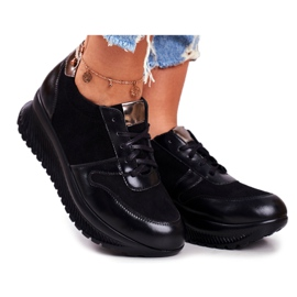 EVE Fekete női bőr sportcipő 20PB32 1792 ButyModne.pl