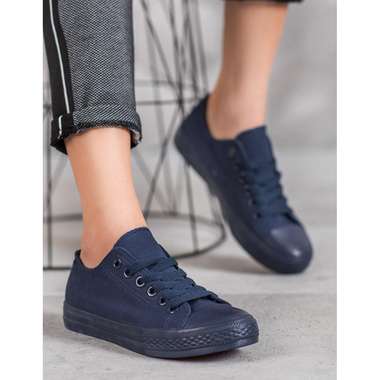 SHELOVET Sötétkék textil cipők haditengerészet