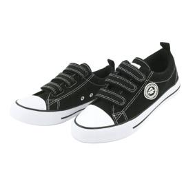 American Club Amerikai gyermek cipők tépőzáras LH33-tal fehér fekete 2