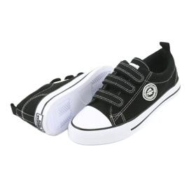 American Club Amerikai gyermek cipők tépőzáras LH33-tal fehér fekete 3