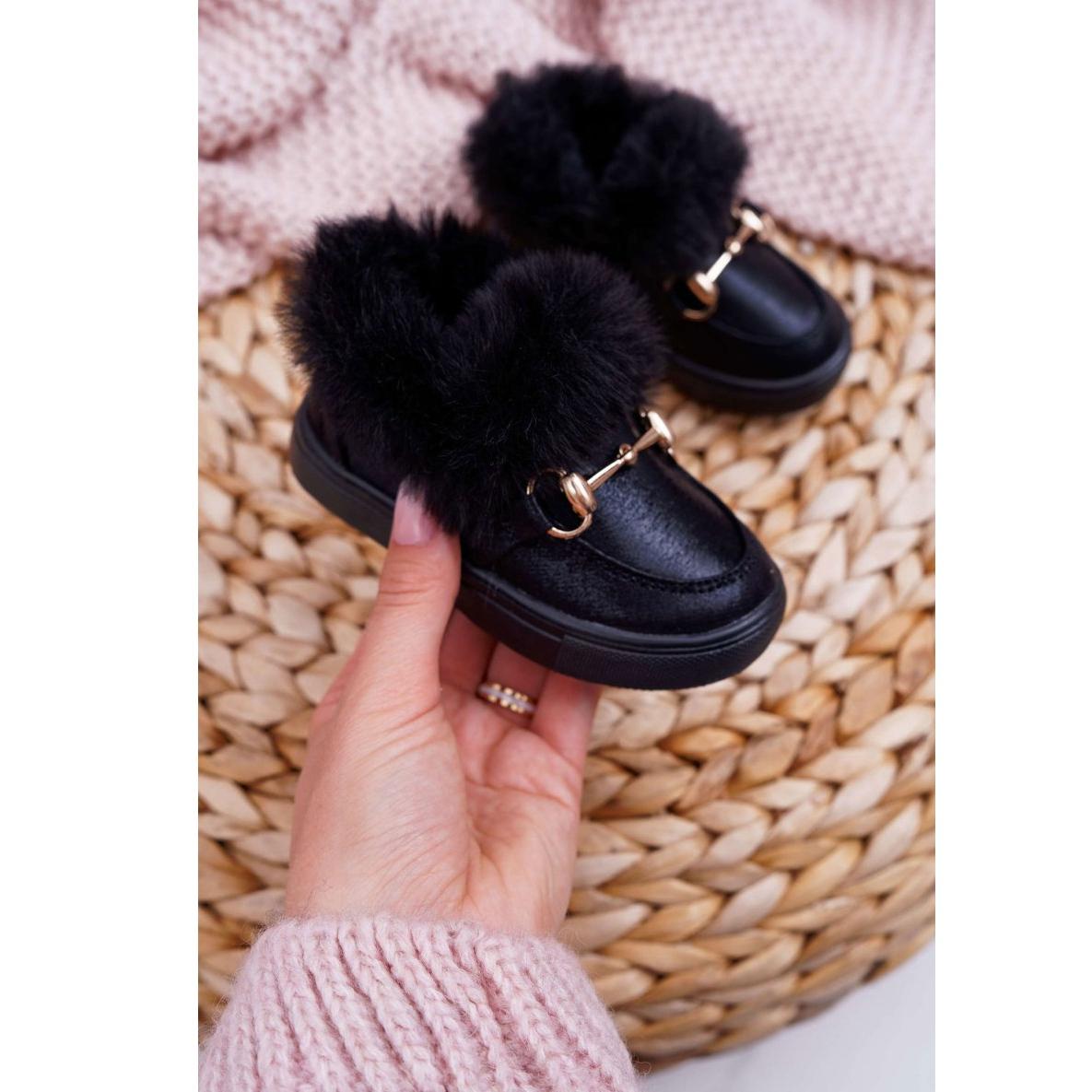 Meleg fekete, divatos gyerek cipők, szőrme