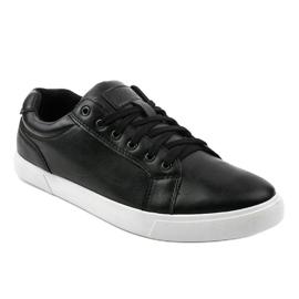 Fekete férfi cipők, ekológikus bőrből D83701 1
