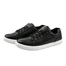 Fekete férfi cipők, ekológikus bőrből D83701 2