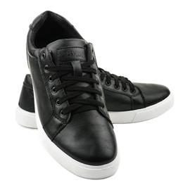 Fekete férfi cipők, ekológikus bőrből D83701 3