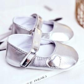 Apawwa Keresztelő baba tépőzáras cipők Bellawa ezüst szürke 2
