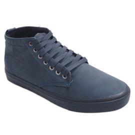 Stílusos, magas szárú cipők Y007 sötétkék haditengerészet 1