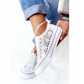FB2 Női fehér Candice csipke cipők 3