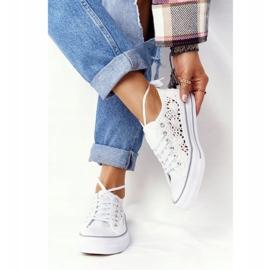 FB2 Női fehér Candice csipke cipők 2